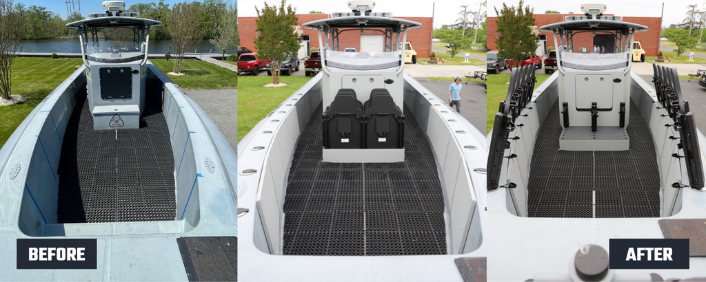 Before and after photo of Hardwire LLC's ballistic armor on Maryland's Department of Natural Resources boat