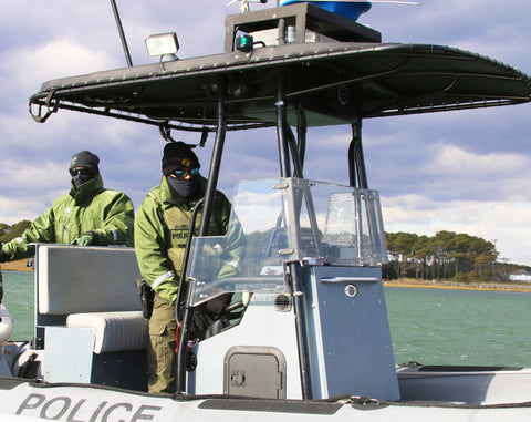 MD DNR Police on their armored boat