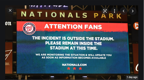 Nats vs Padres shooting annoucement