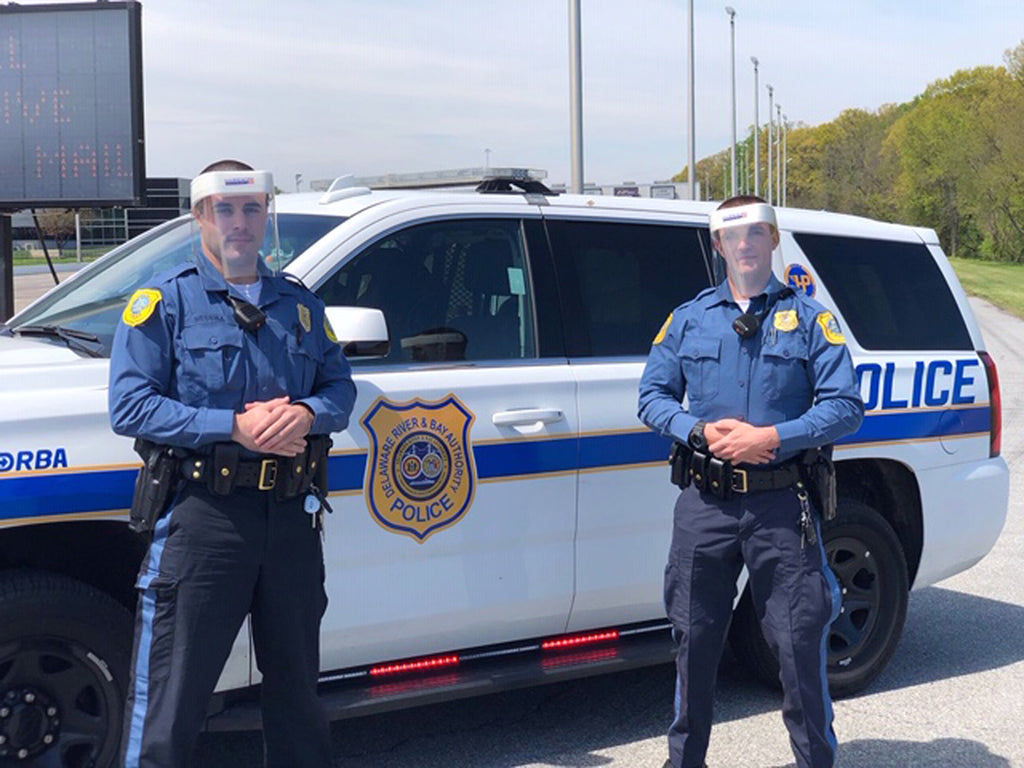 Two Delaware River & Bay Authority police wearing Hardwire Face Shields.