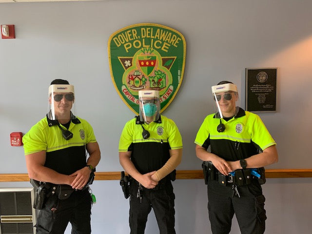 Three Dover Delaware police officers wearing Hardwire Face Shields.