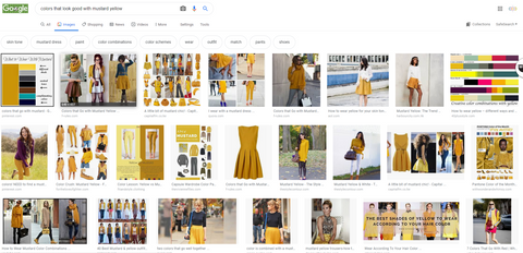 Google search for mustard yellow