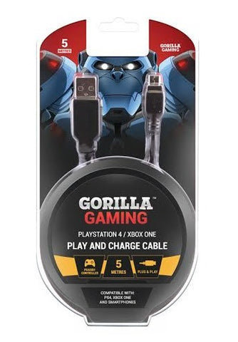 Gorilla Gaming Play and Charge Cable (5 Metres, PS4 & Xbox One) - PS4