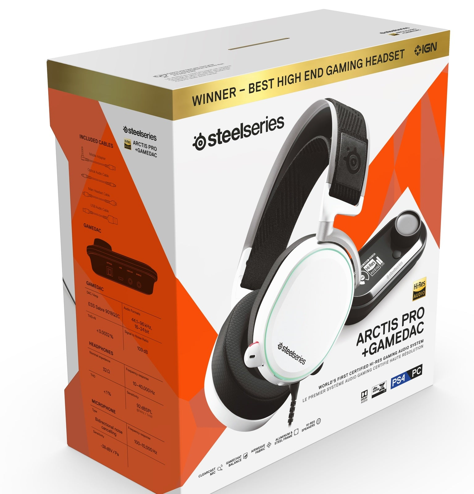 SteelSeries Arctis Pro + GameDAC Headset (White) - PS4