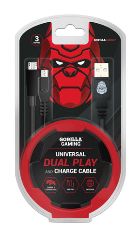 Gorilla Gaming Dual Play and Charge Cable (3m) - PS4