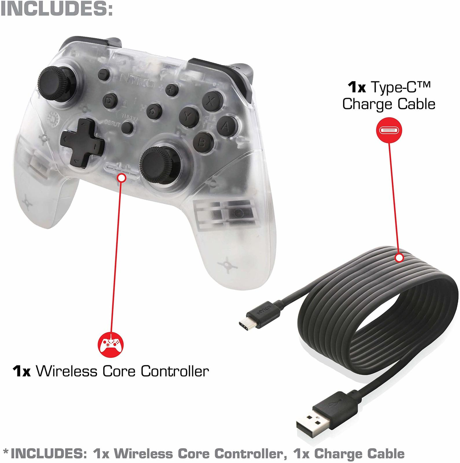Nyko Switch Wireless Core Controller (Clear) - Nintendo Switch