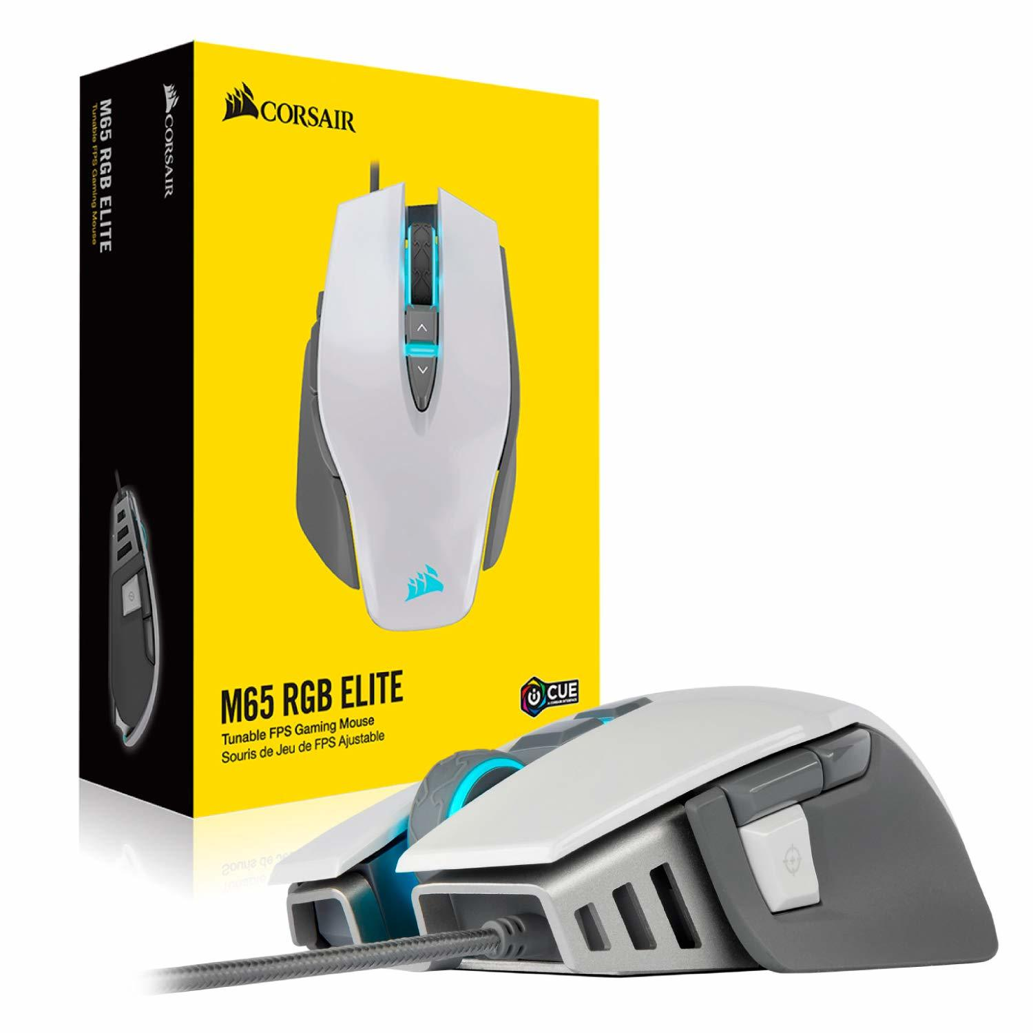 Corsair M65 Elite RGB Tunable FPS Gaming Mouse (White) - PC Games