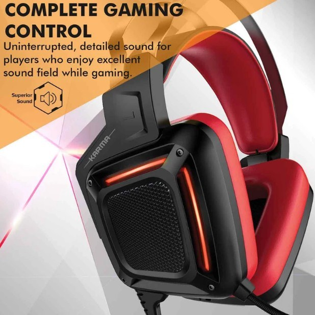 Promate: Dynamic Over-Ear Gaming Headset with Microphone - Red