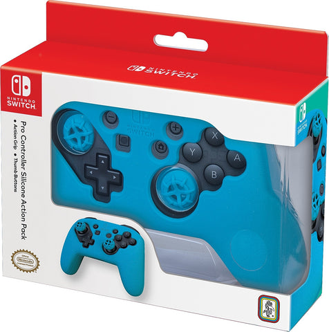 Nintendo Switch Pro Controller Action Grip & Thumb Buttons - Blue - Nintendo Switch