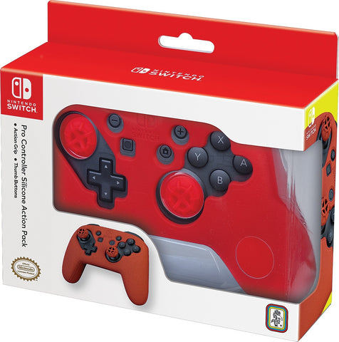 Nintendo Switch Pro Controller Action Grip & Thumb Buttons - Red - Nintendo Switch