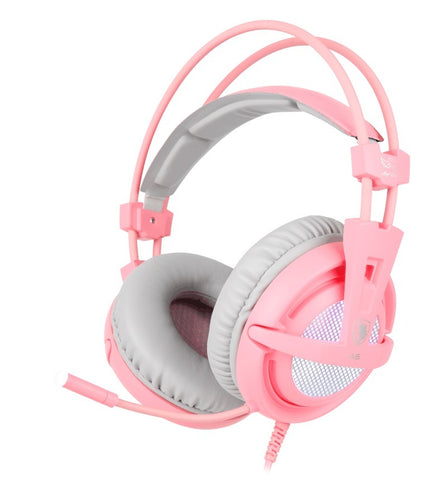 SADES A6 Gaming Headset (Pink) - PC Games