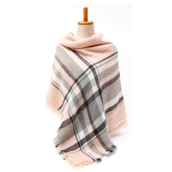 Pink And Grey Tartan Square Scarf