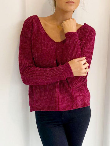 Cross Back Berry Chenille Jumper