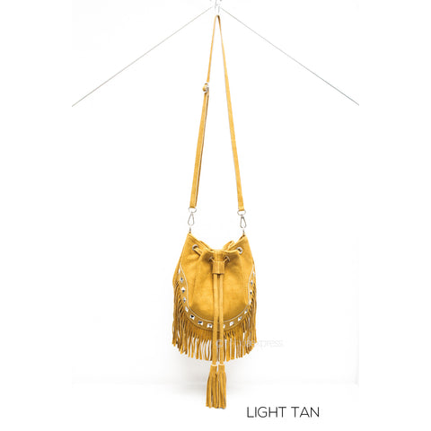 Mustard Leather Suede Fringed Bucket Bag