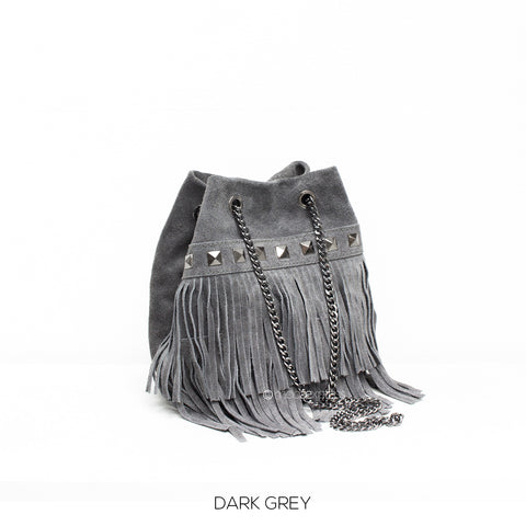 Grey Small Leather Suede Fringed Bucket Bag