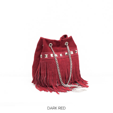 Red Small Leather Suede Fringed Bucket Bag