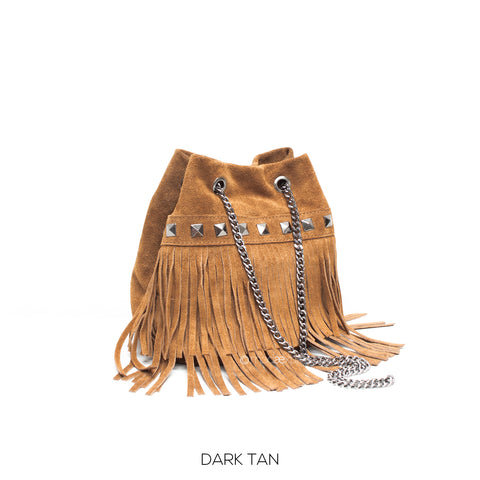 Mustard Small Leather Suede Fringed Bucket Bag