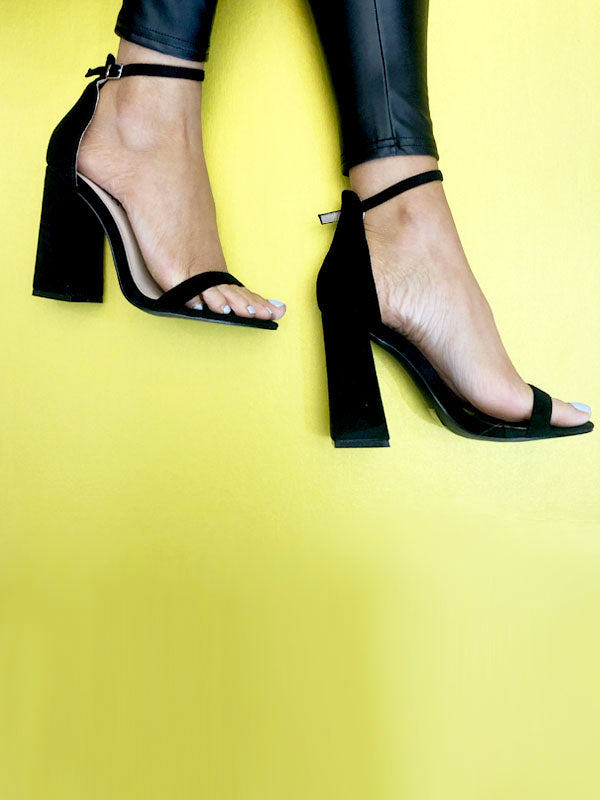 Black Block Barely There Heels