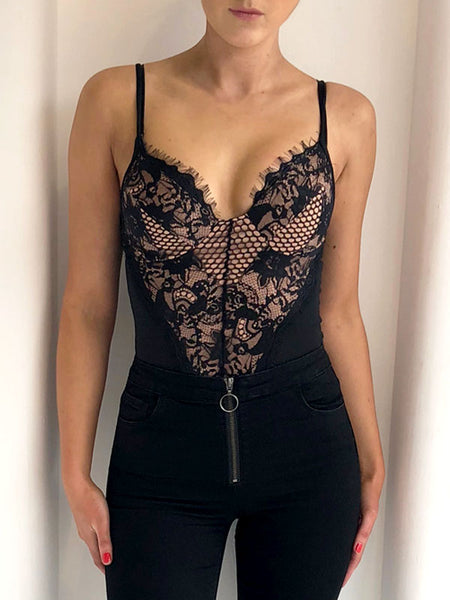 Lace Front Bodysuit - Black