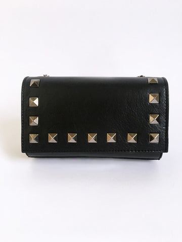 Black Matte Rock Stud Leather Bag