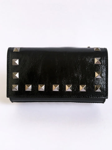 Shiny Black Rock Stud Leather Bag