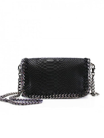 Black Chain Detail Leather Bag