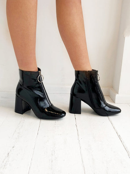 Black Hoop Detail Ankle Boots