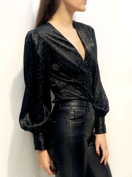 Black Satin Leopard Print Blouse