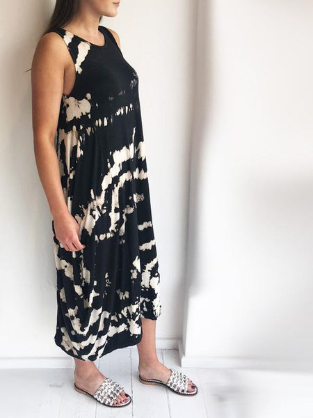 Dark Tie Dye Slouchy Sleeveless Jersey Dress