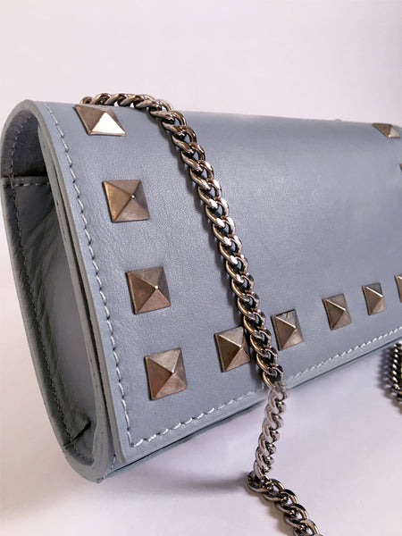 Baby Blue Rock Stud Leather Bag