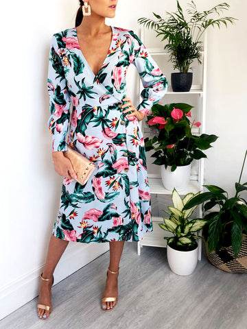 Pastel Tropical Midi Dress