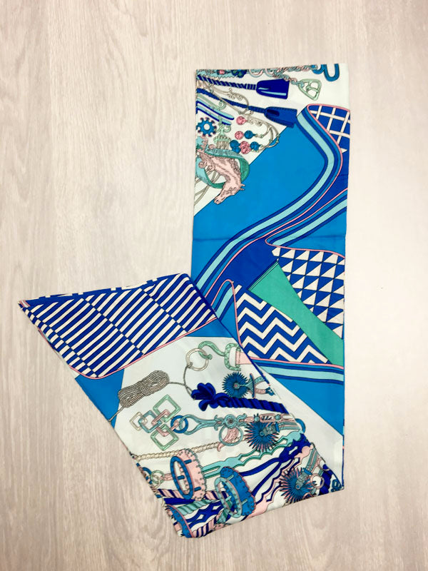 Blue Print Headscarf