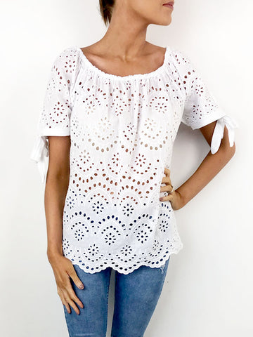 White Broderie Anglais Top