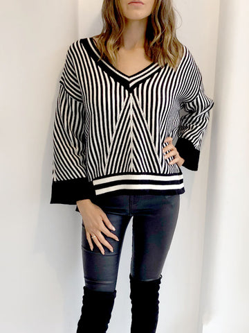Monochrome Stripe Slouchy Jumper