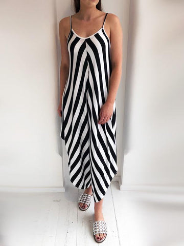 Black And White Striped Jersey Jumpsuit