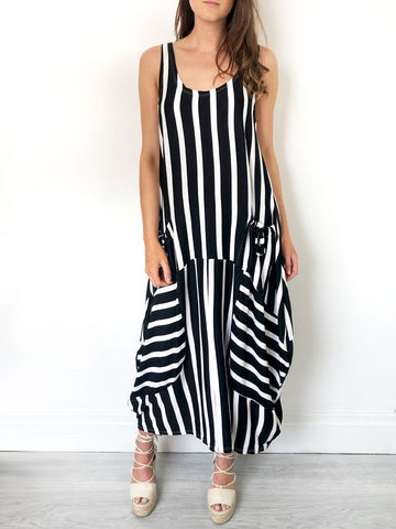 Monochrome Stripe Slouchy Jersey Dress
