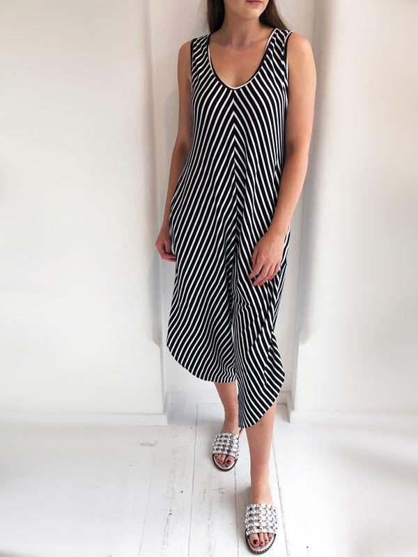 Black Striped Wide Sleeve Jersey Jumpsuit