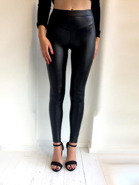 Wet Look Leggings - Black