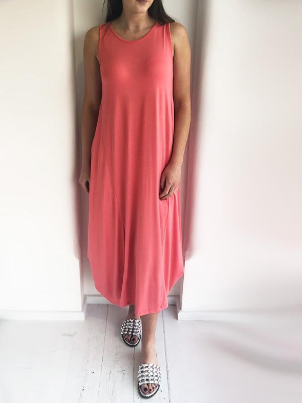 Coral Slouchy Sleeveless Jersey Dress