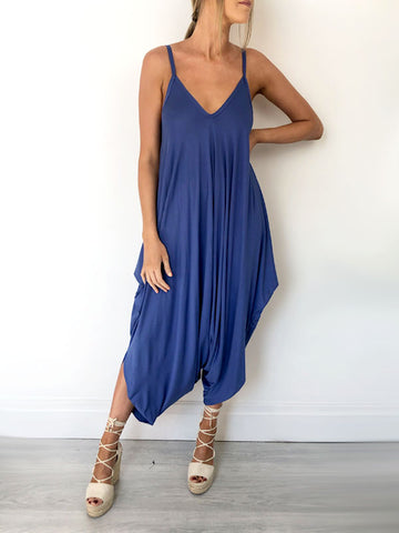 Cornflower Blue Jersey Jumpsuit