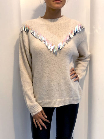 Cream Iridescent Sequin Trim Jumper