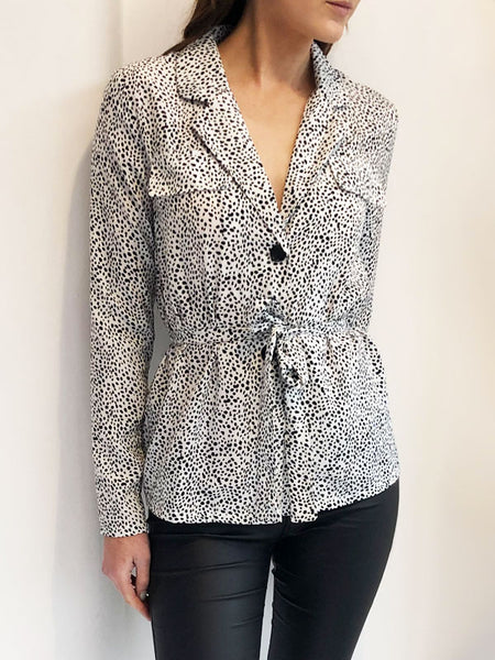 White Dalmatian Belted Blouse