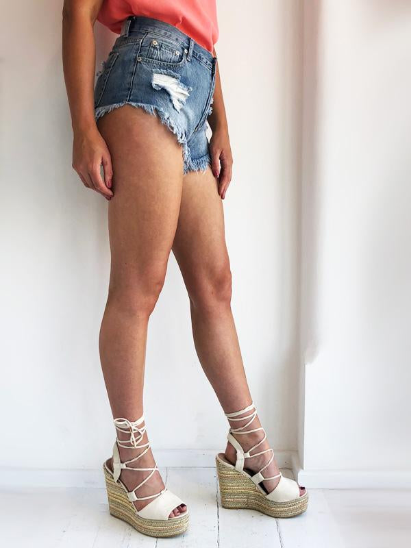 Stonewash Frayed Hem Denim Shorts