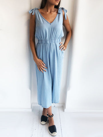 Tie Detail Denim Jumpsuit
