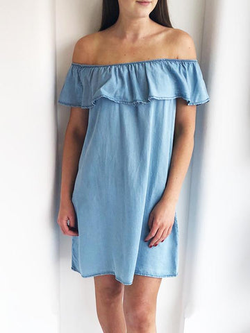 Denim Frill Off The Shoulder Summer Dress