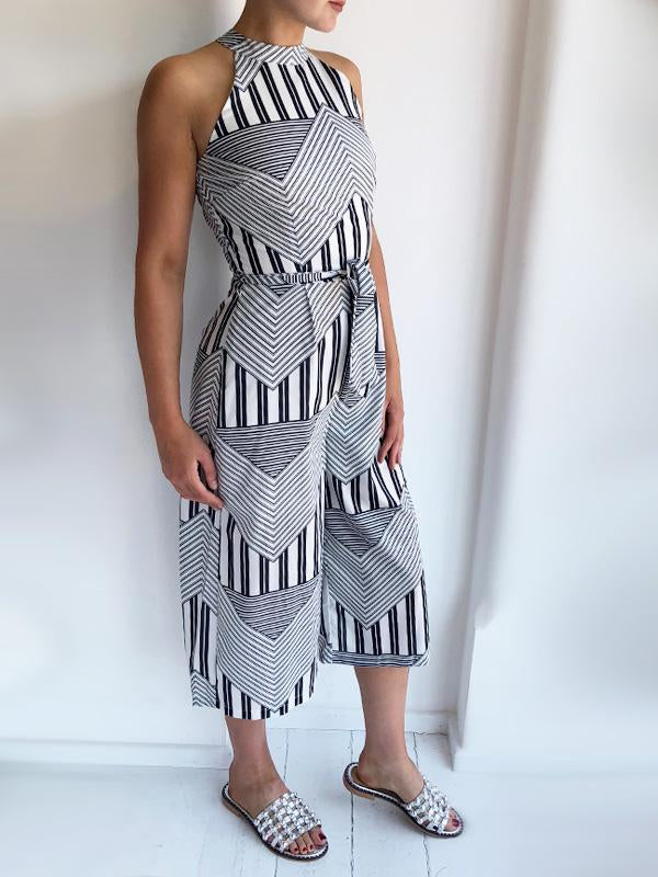 High Neck Geometric Print Jumpsuit