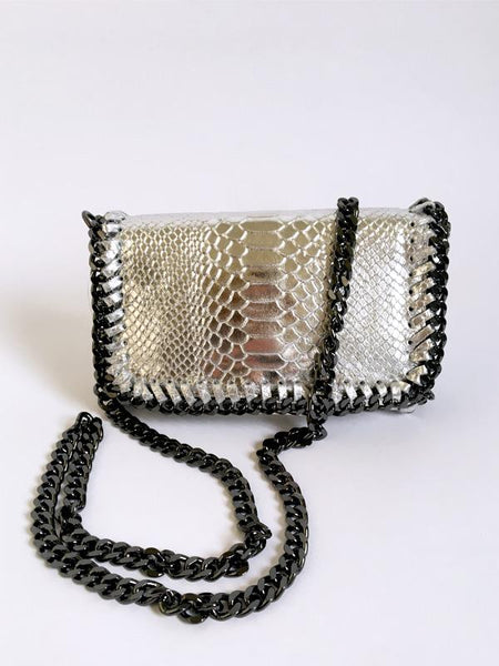 Gold Leather Chain Detail Bag