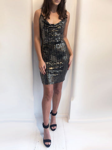 Gold Mirror Glitter Dress