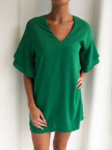 Green Frill Sleeve Shift Dress