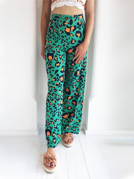 Green Leopard Print Trousers